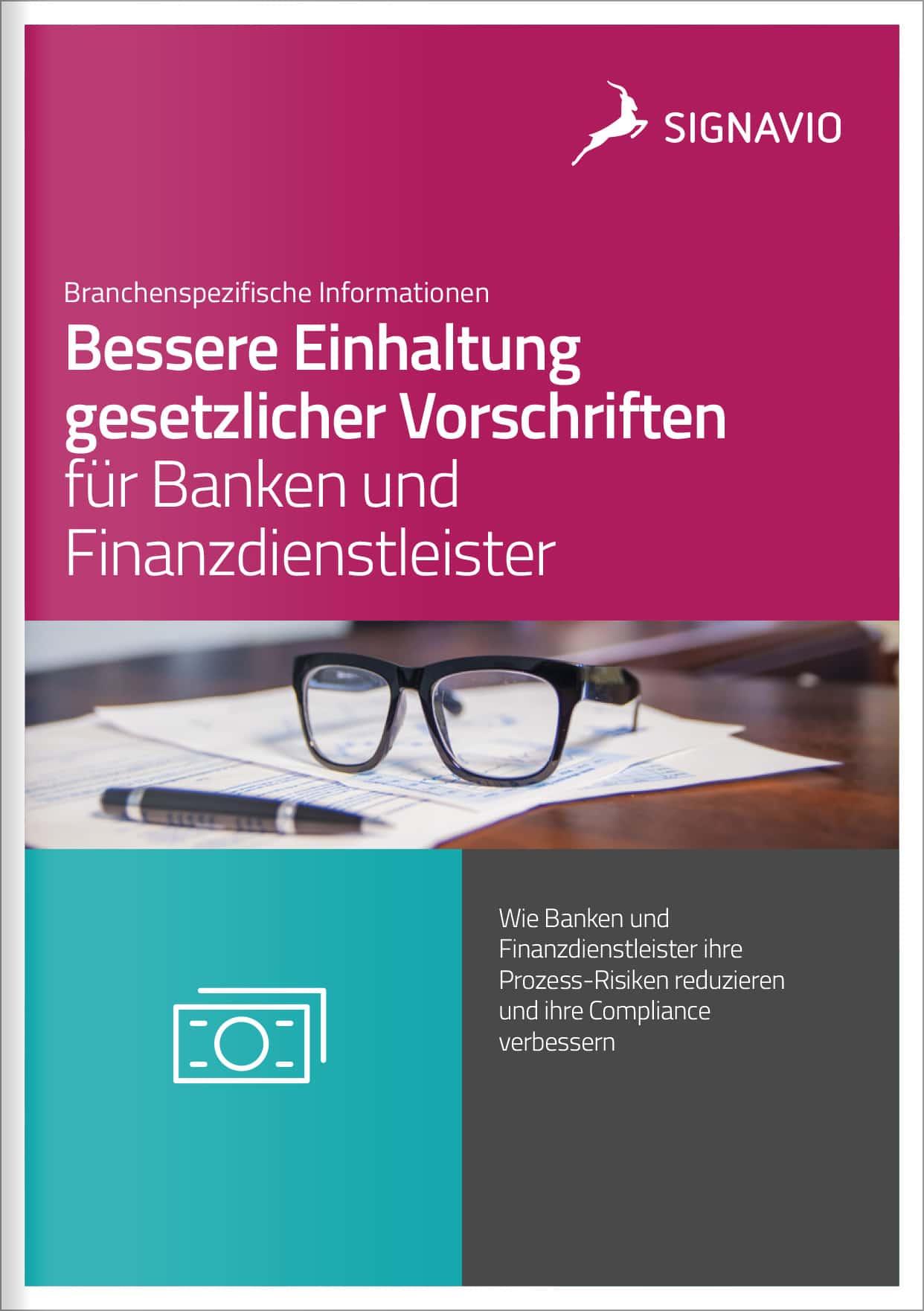 Titelbild_ bessere Einhaltung gesdetzlicher Vorschriften für Banken und Finanzdienstleister_Brille und Stift auf Papier