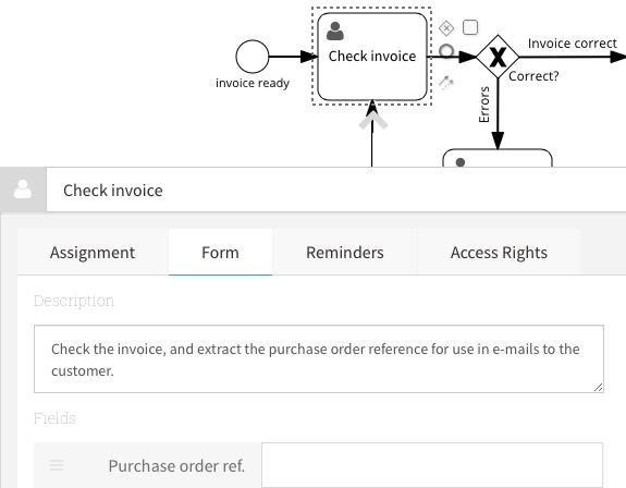 user task - process editor