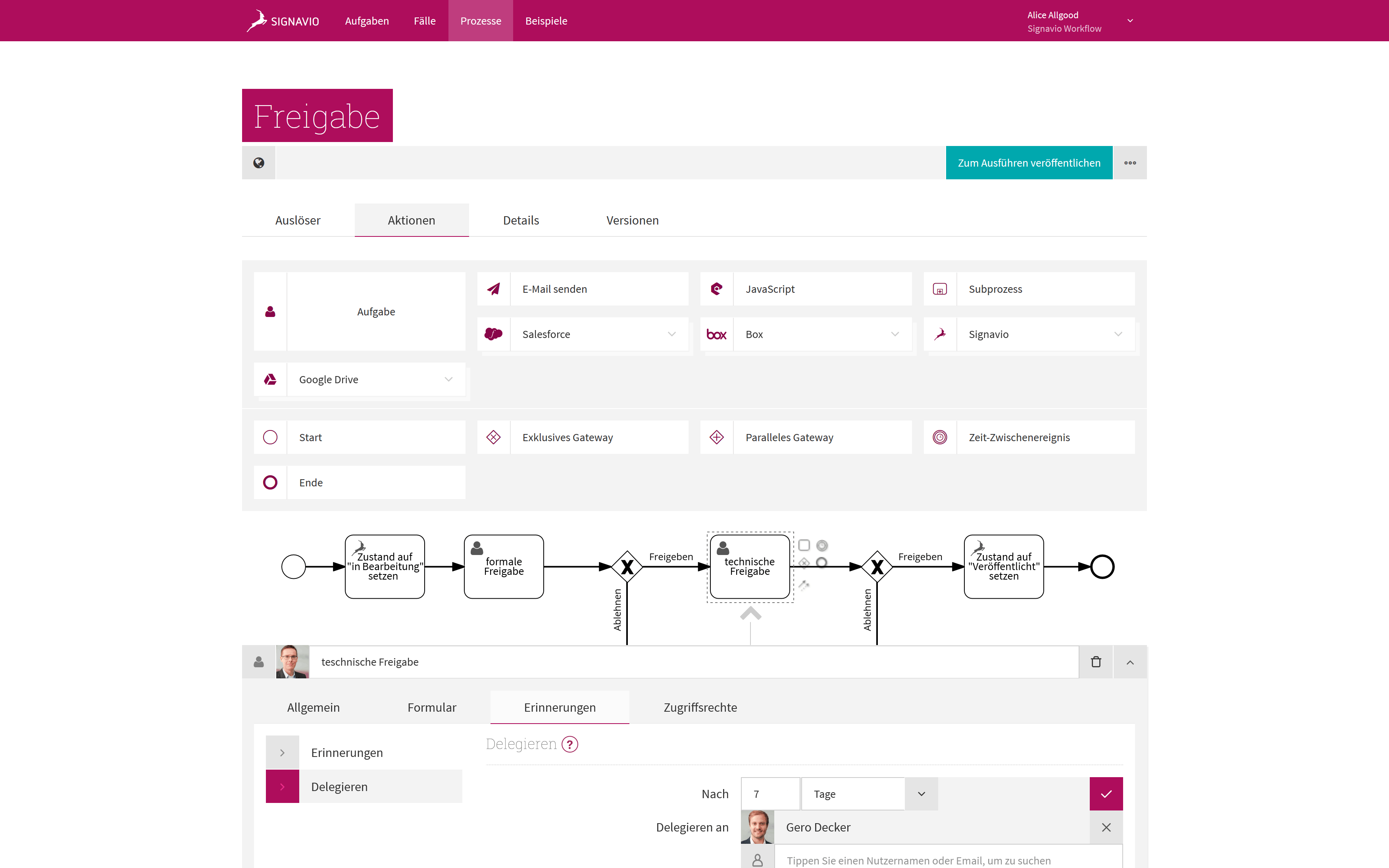 Freigabe-Workflow - Screenshot