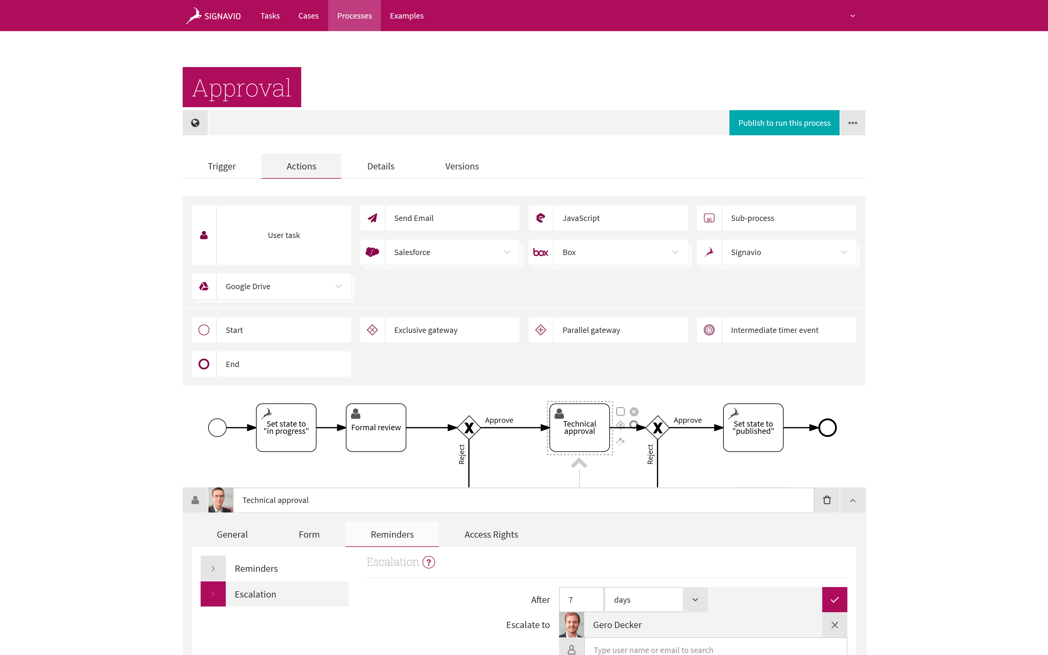 Approval Workflow - Signavio Process Editor Screenshot