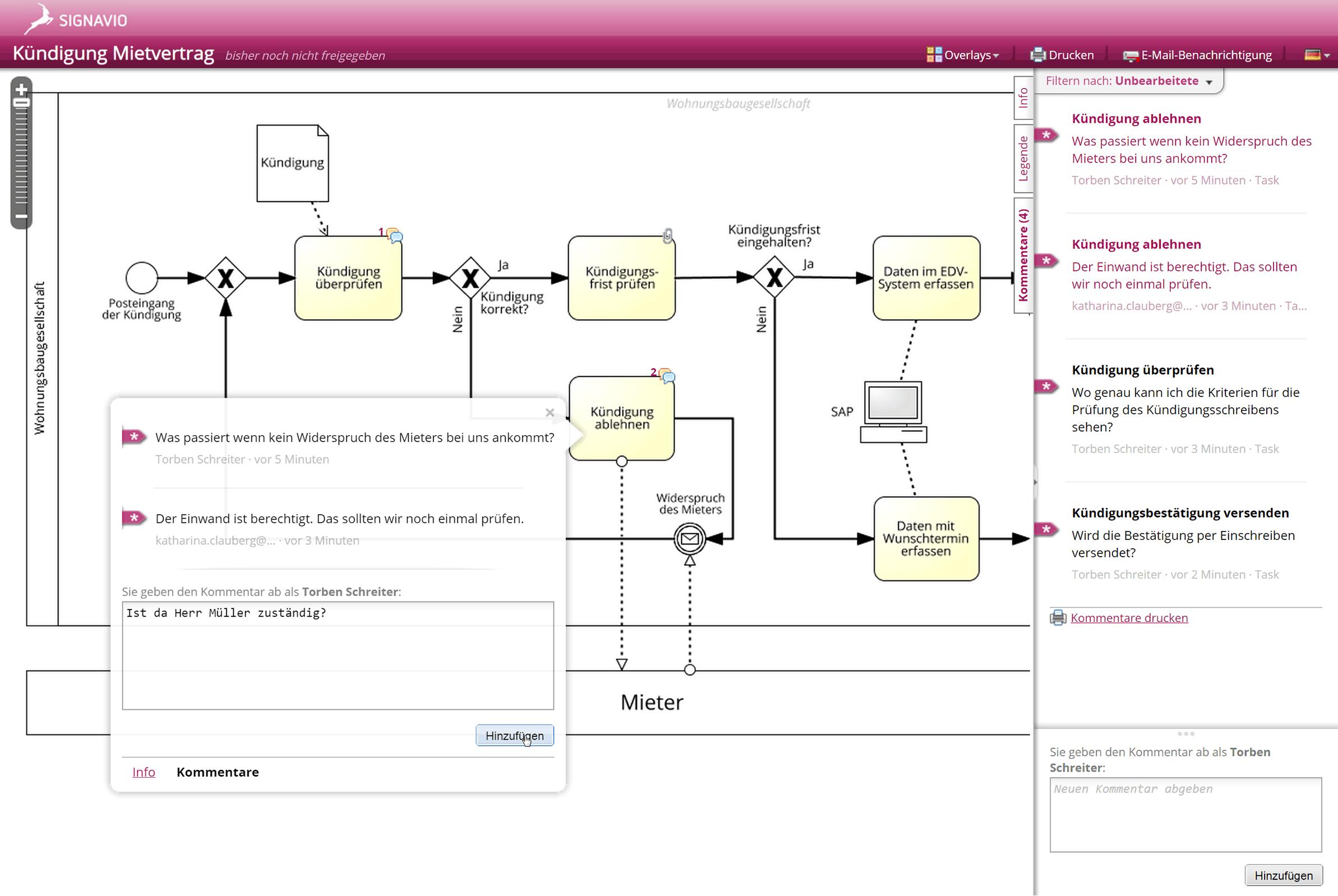 Prozessmodell Kommentierungsansicht -Signavio Processs Manager - Screenshot