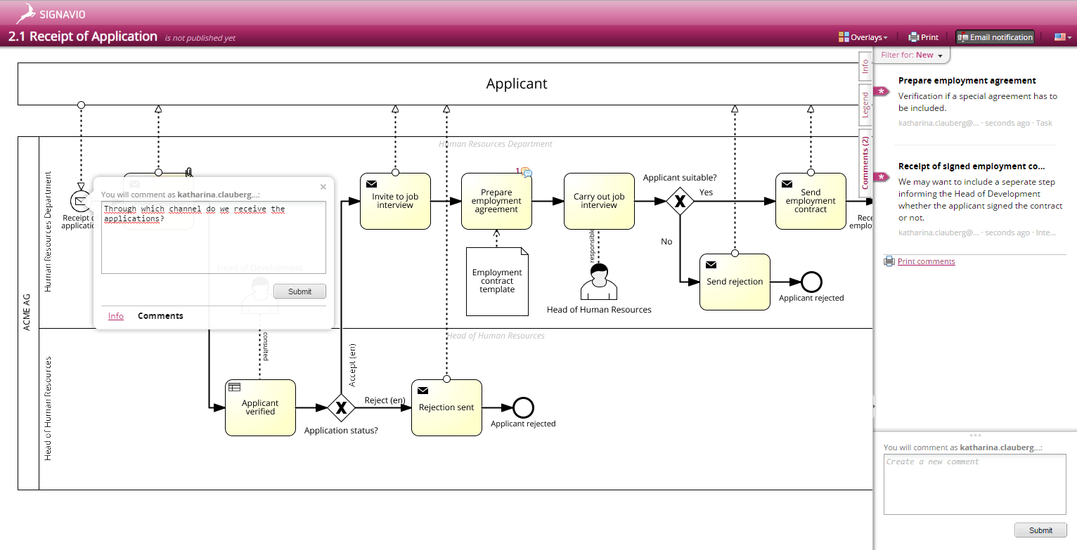 Process Model adding comments - Signavio Process Editor- Screenshot