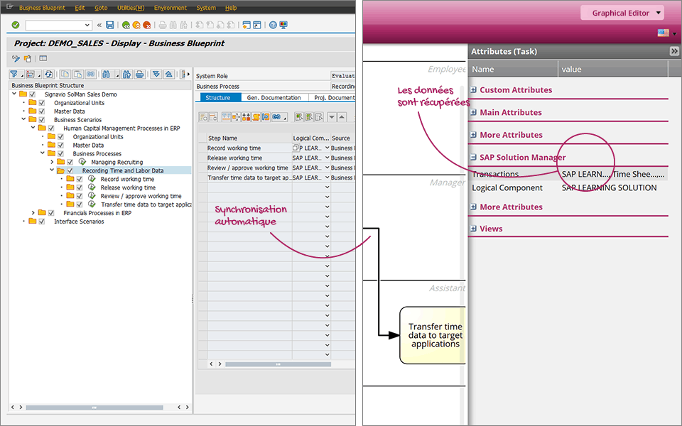 Side by side sample of Signavio Process Manager and SAP® Solution Manager integration