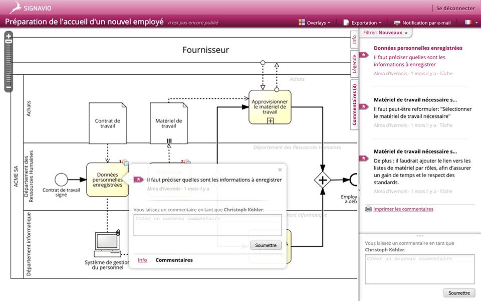Screenshot Add comments within Signavio Process Editor