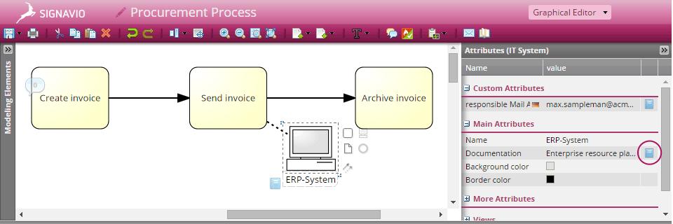 Screenshot Dictionary Syncronization in Signavio Process Editor