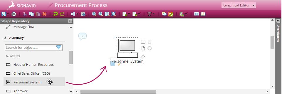 Screenshot of how to model via drag and drop in Signavio