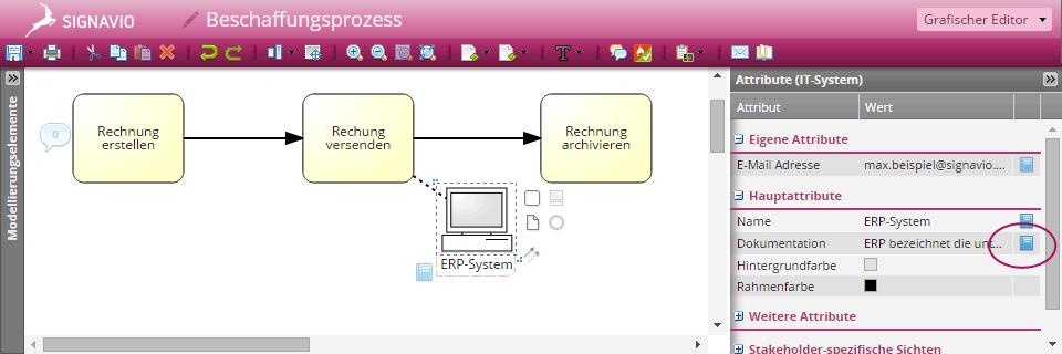 Screenshot Synchronisation von Attributen mit dem Glossar