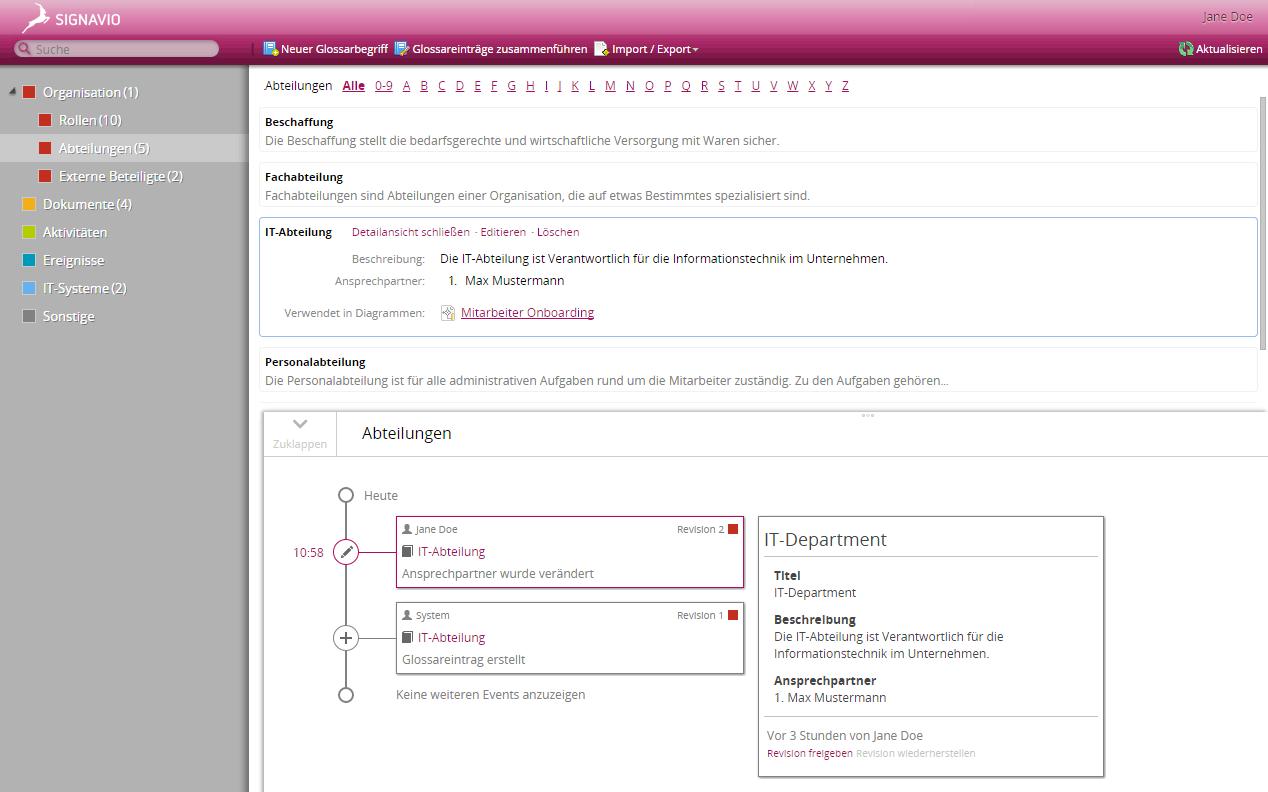 Screenshot Versionshistorie von Glossareinträgen