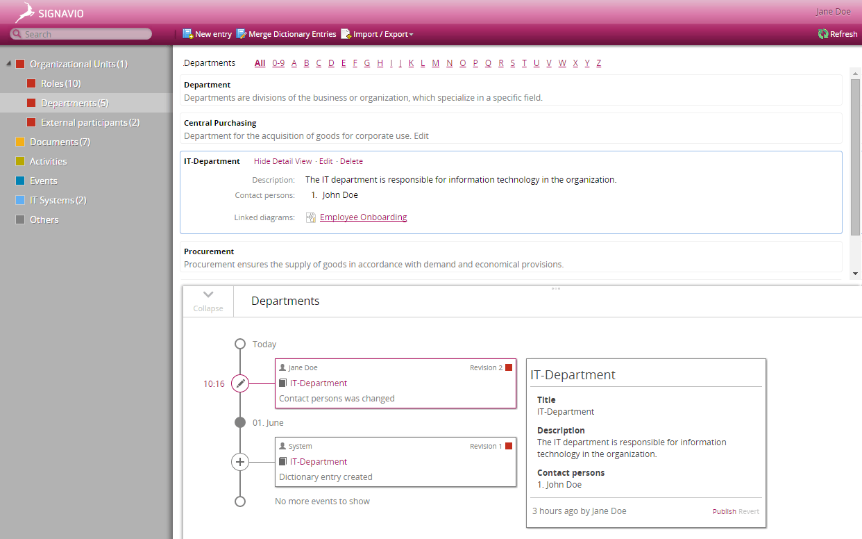 Screenshot version control of dictionary items in the Signavio Process Editor
