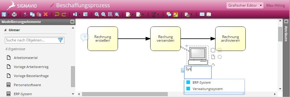 Screenshot Typ-Spezifische Vorschläge aus dem Glossar