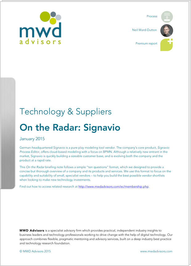 "Cover preview: White Paper ""On the Radar: Signavio"" by MWD Advisors"