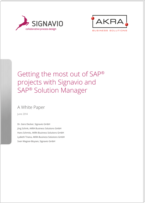 Cover preview: White Paper SAP® projects with Signavio and SAP® Solution Manager