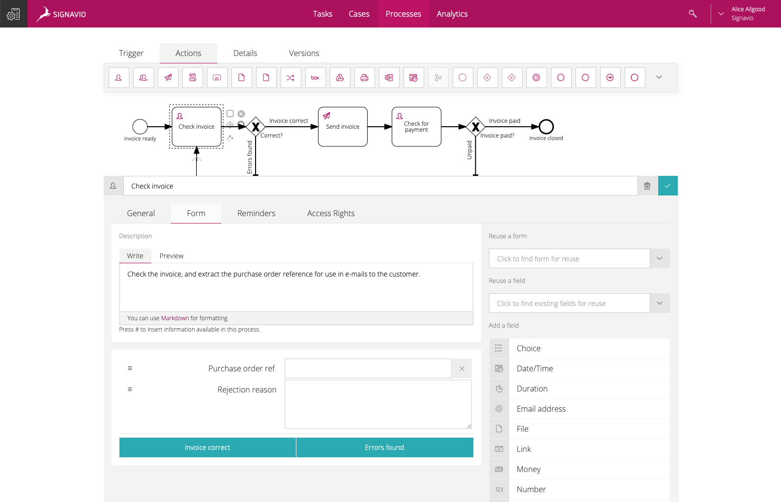 Form builder feature screenshot