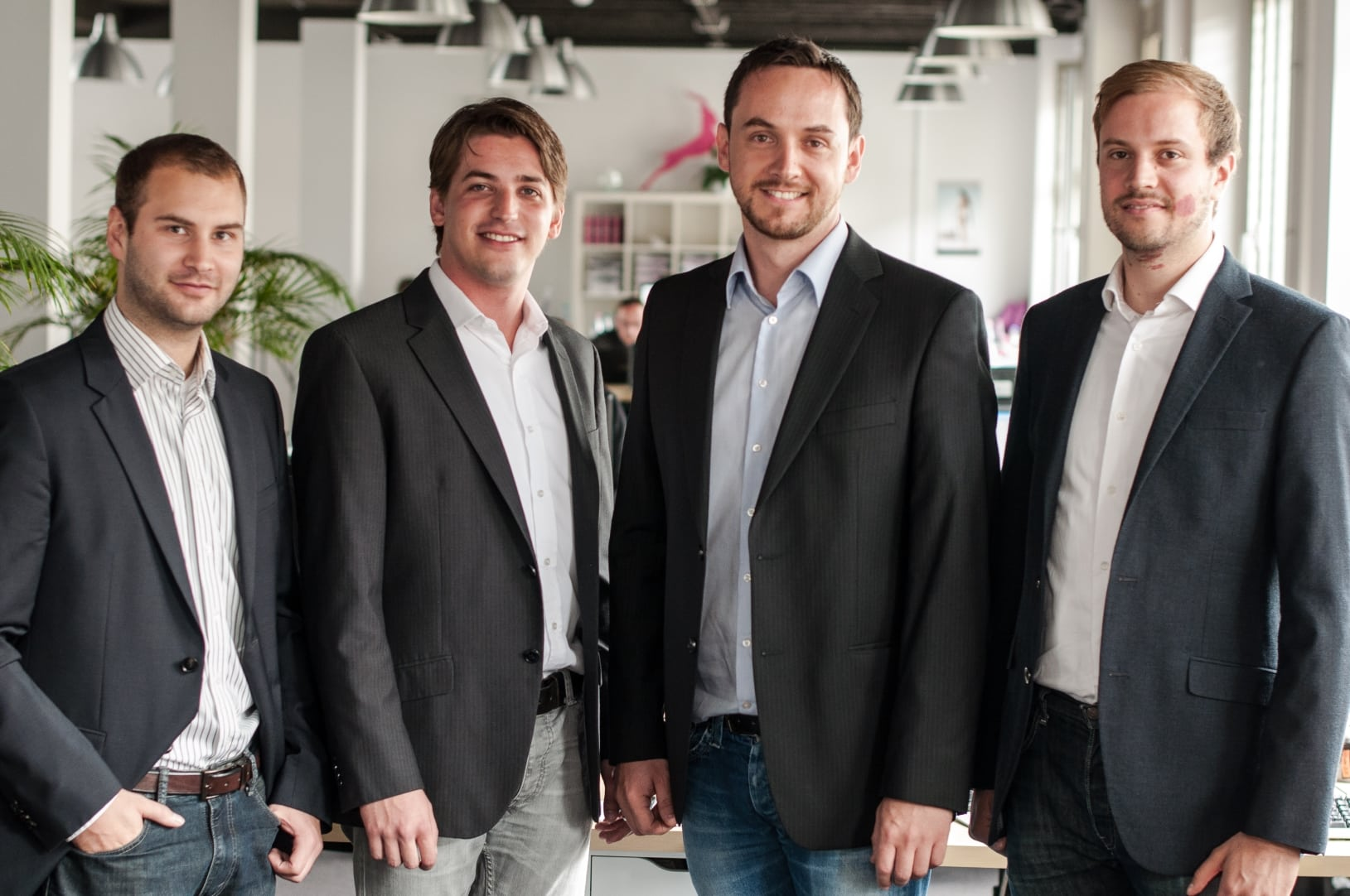 The Founders of Signavio – from left: Torben Schreiter, Nicolas Peters, Willi Tscheschner, Gero Decker