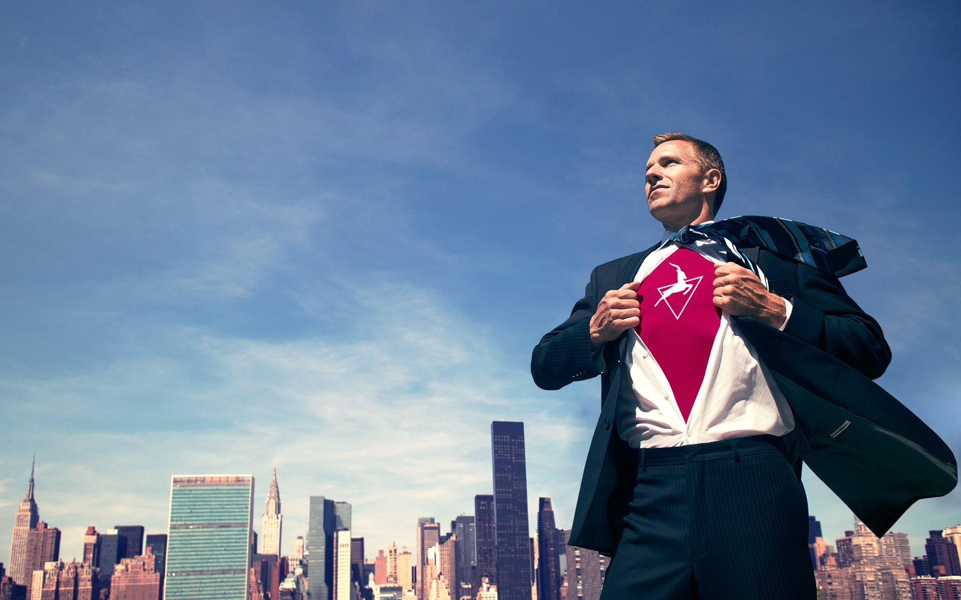 Business Transformation Platform Superhero open his shirt to show Signavio suit