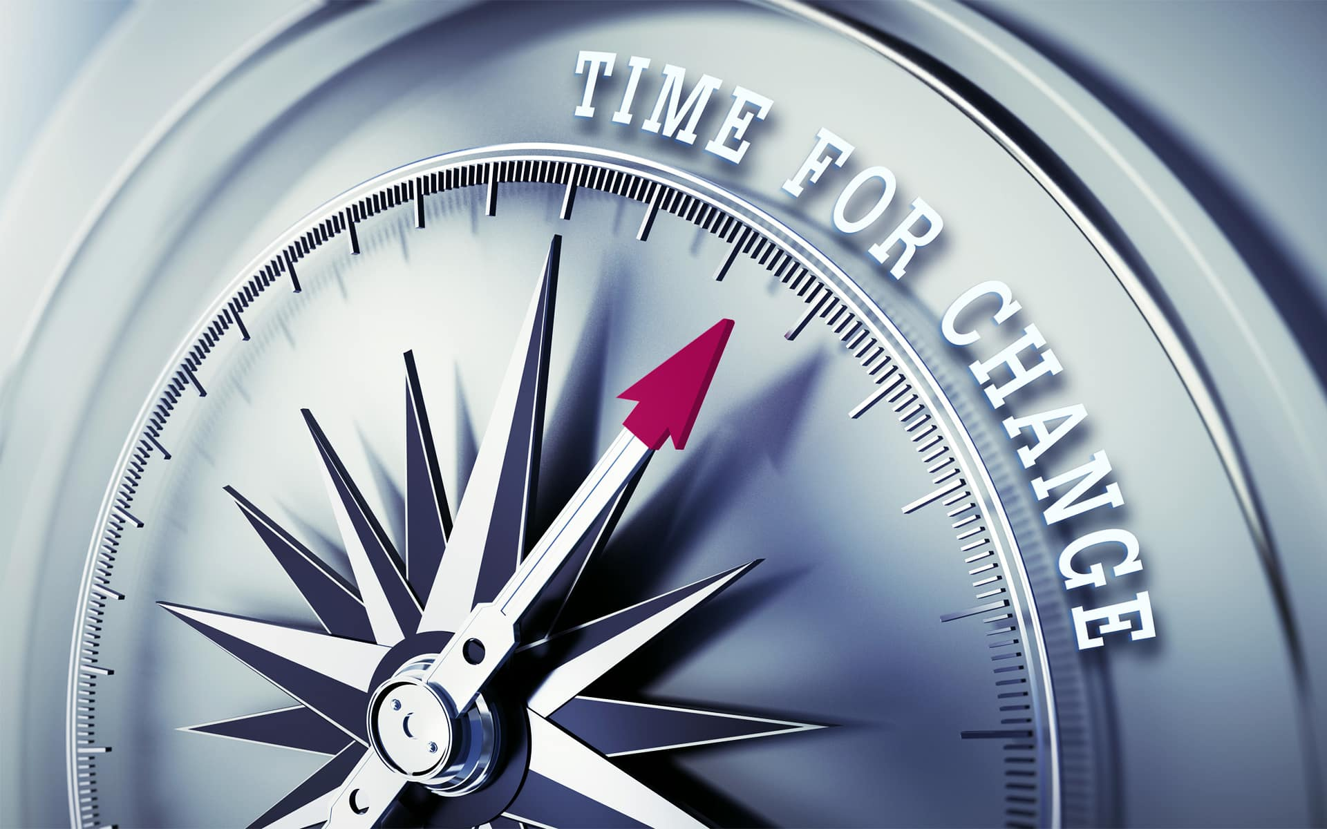 Business Transformation - compass stopping at the phrase time for change