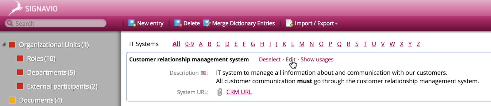 Edit dictionary entry in Signavio Process Editor