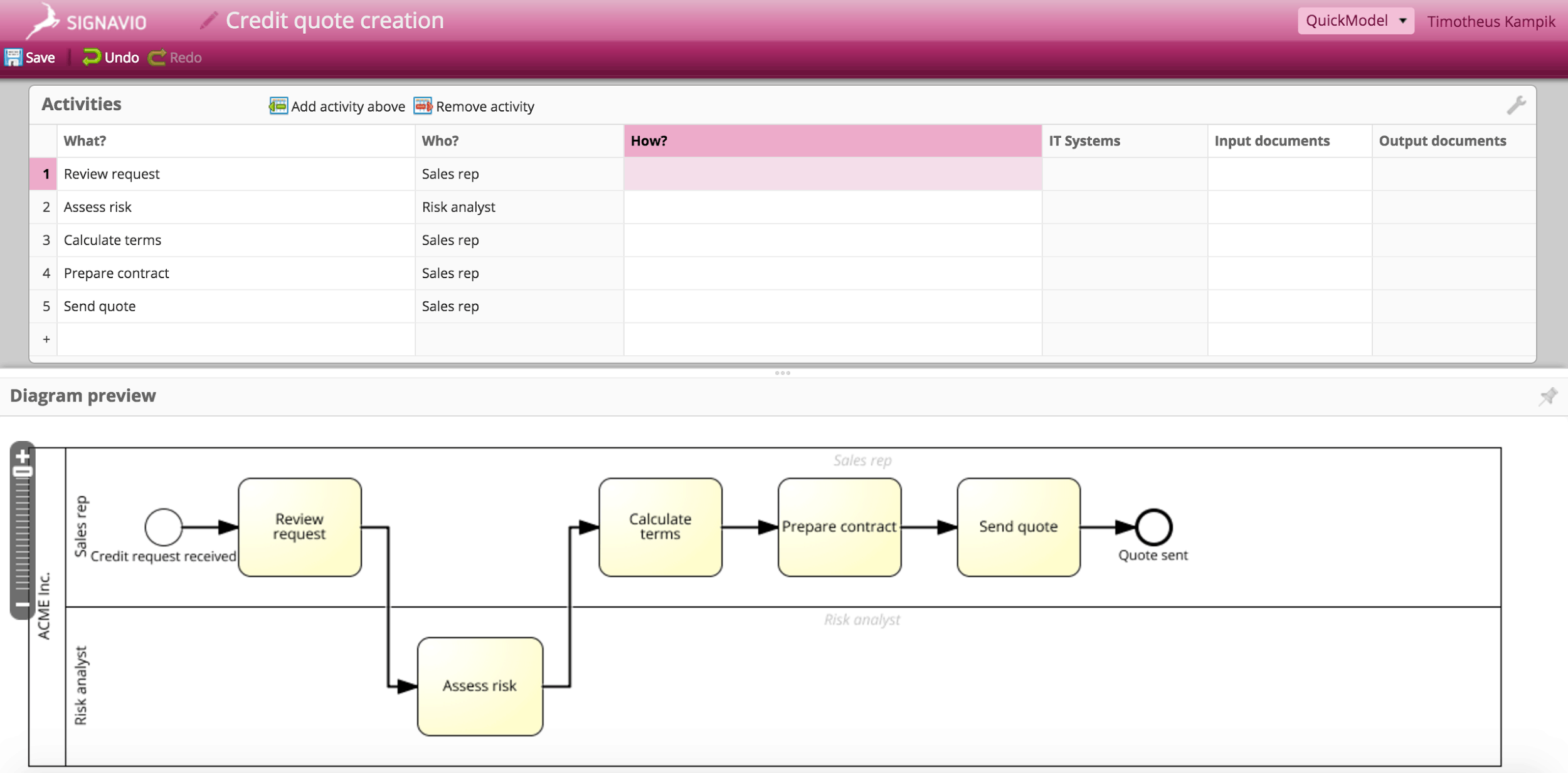 signavio s quickmodel enables bpm for everyone process modeling bpm quickmodel screenshot