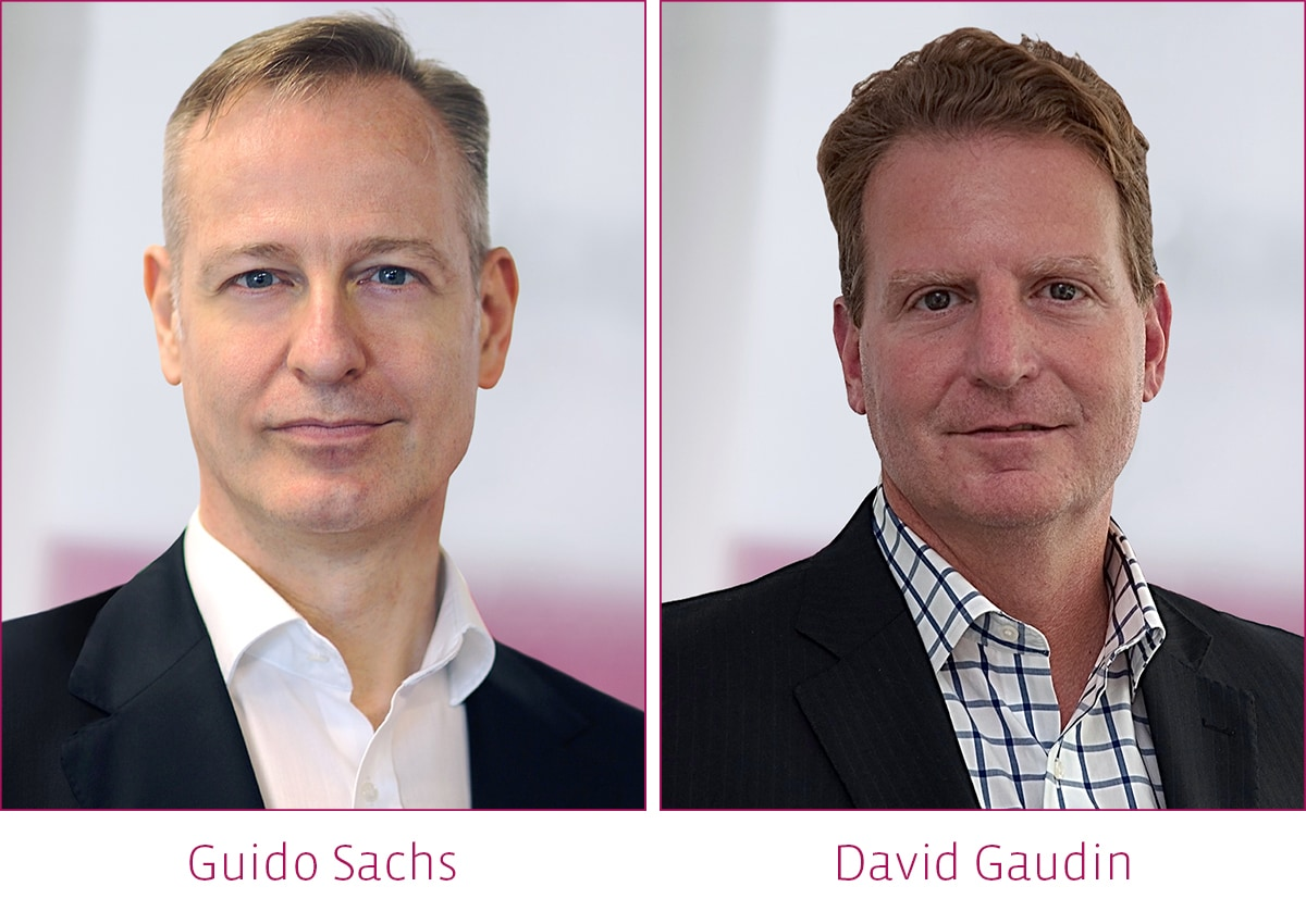 The image shows a picture of guido sachs and david gaudin