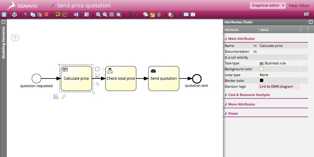 Link the BPMN model to the DMN diagram - Signavio Process Editor Screen