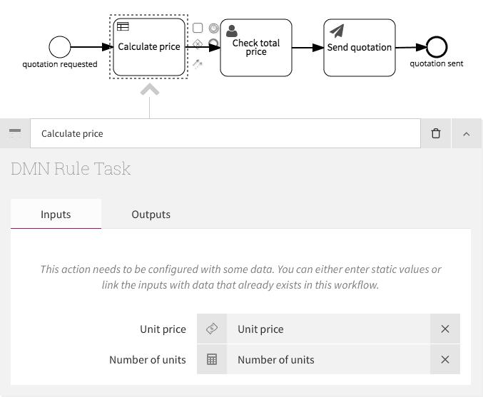 Configuring DMN Rule Task inputs