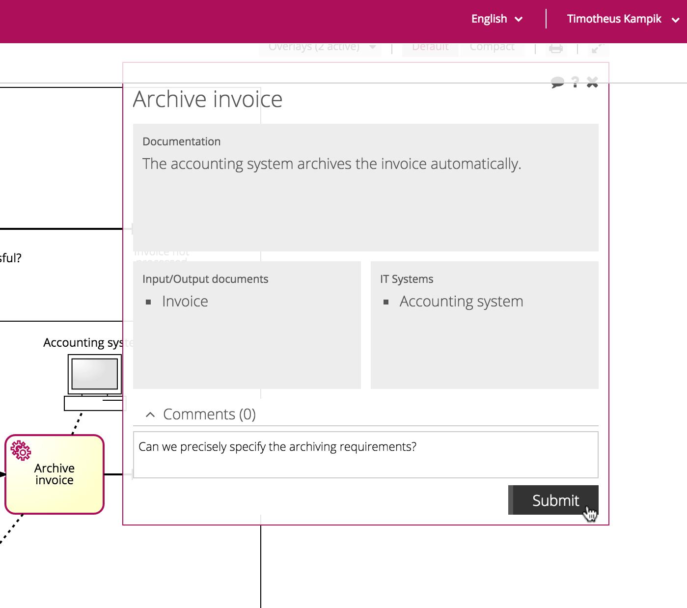 invite all process participants for feedback screen