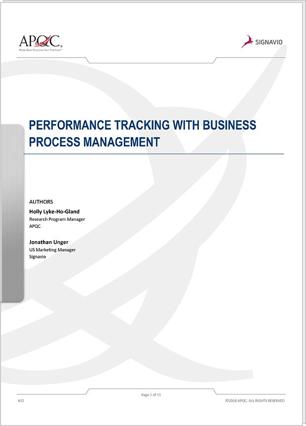 Cover Preview: Performance Tracking with BPM (APQC + Signavio)
