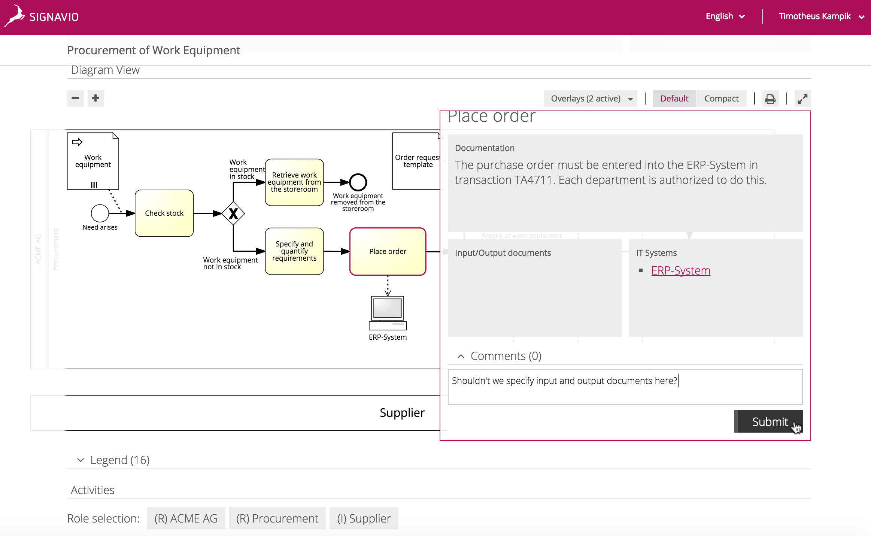 Signavio Collaboration Portal screen - Providing feedback on a process