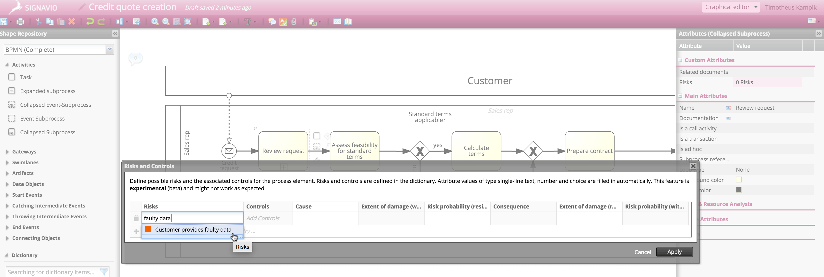 Risk management: Suggestions as you type screen
