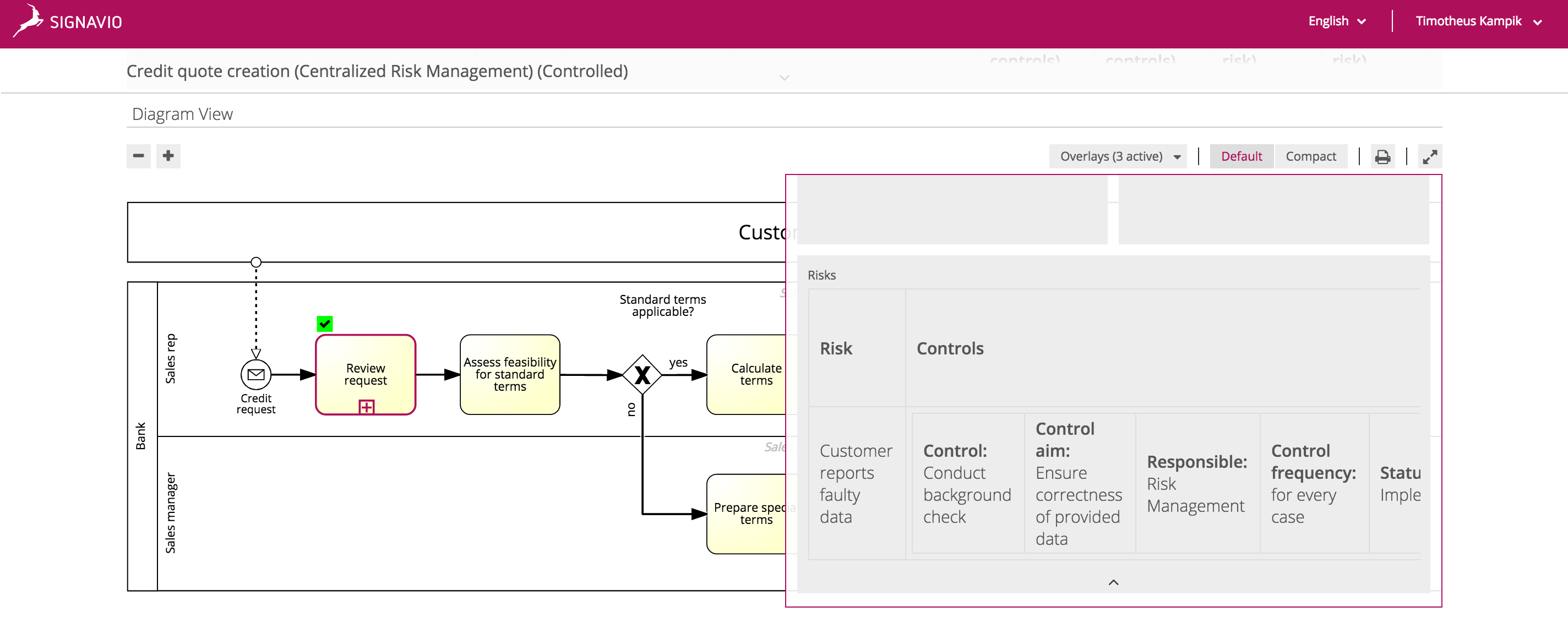Add control to risk screen