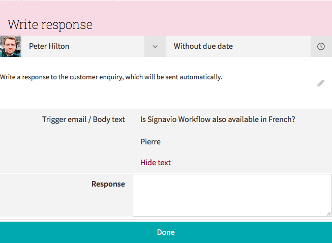 'Write response' user task form screen