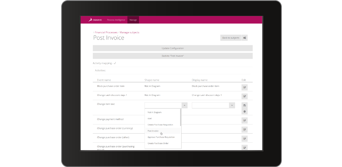 Process Intelligence Financial Processes - real time data on-boarding screen