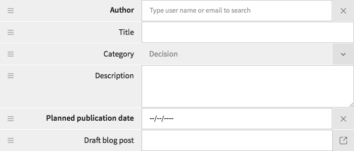 Trigger form fields - for submitting a blog post proposal
