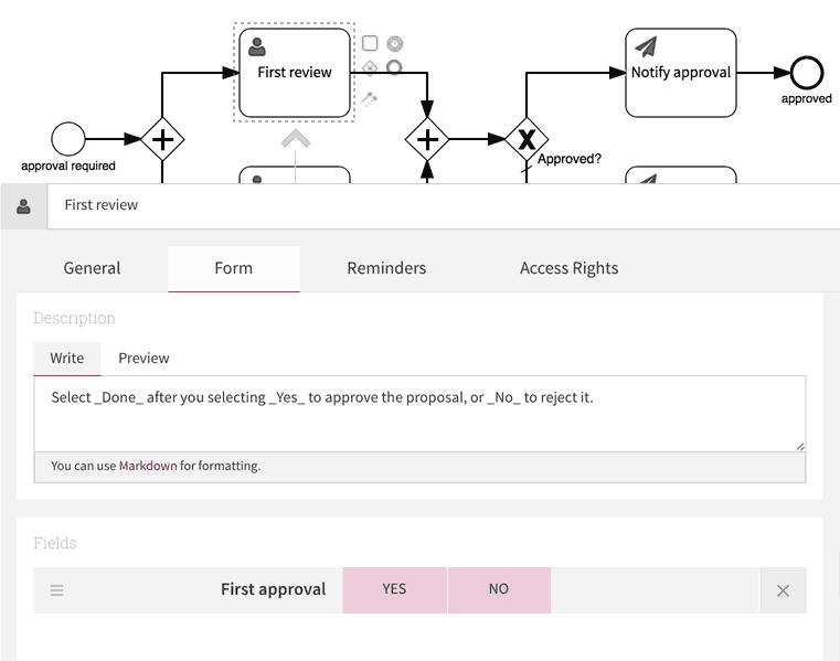 Approval user task form configuration