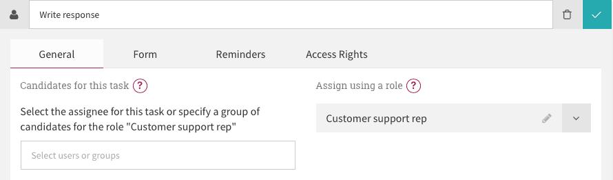 Write response task configuration