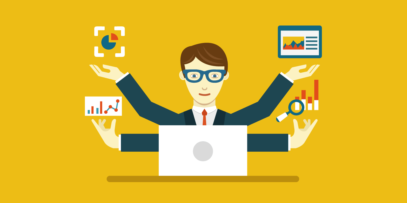 Workflow Integration - man with four arms sitting in front of a laptop