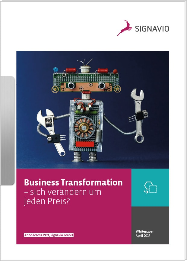 Business Transformation: Tablett, Weltkugel und IT-Icons