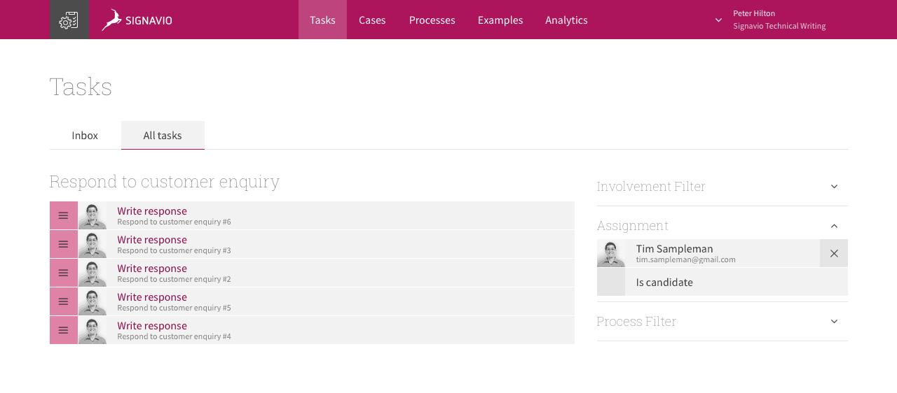 Reassigning an absent colleague's tasks - Signavio Workflow Accelerator Screenshot