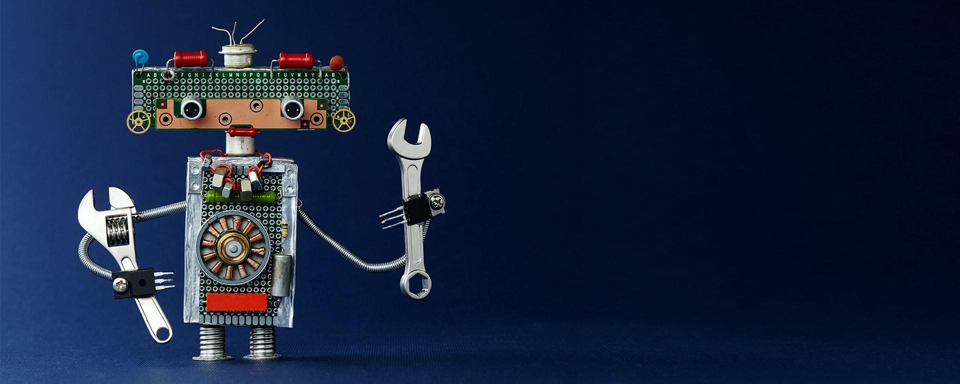 Customer Journey im Einzelhandel und Digitale Transformation - Roboter mit Werkzeugen in der Hand
