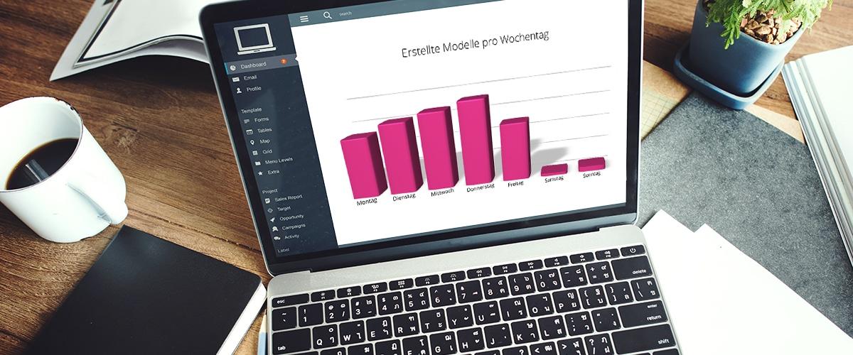 Signavio in Zahlen: Laptop-Screen, der ein Diagramm zeigt.