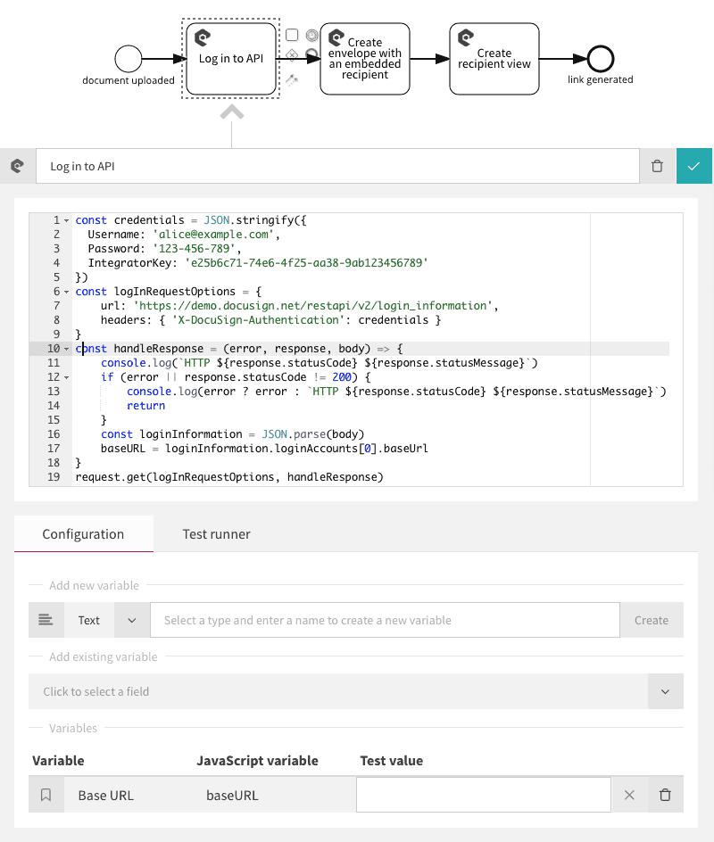 Log in to API