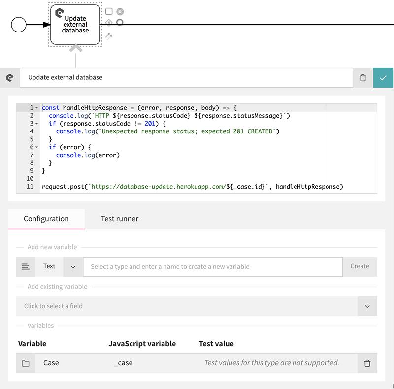JavaScript action configuration