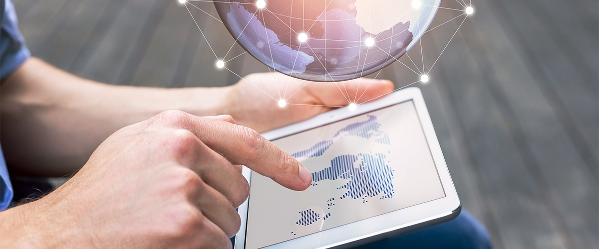 Signavio data center: iPad with world map