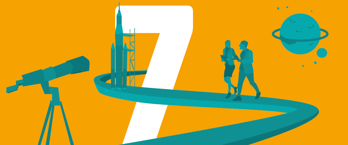 7 steps to Business Transformation guide - number 7 with path to rocket ship