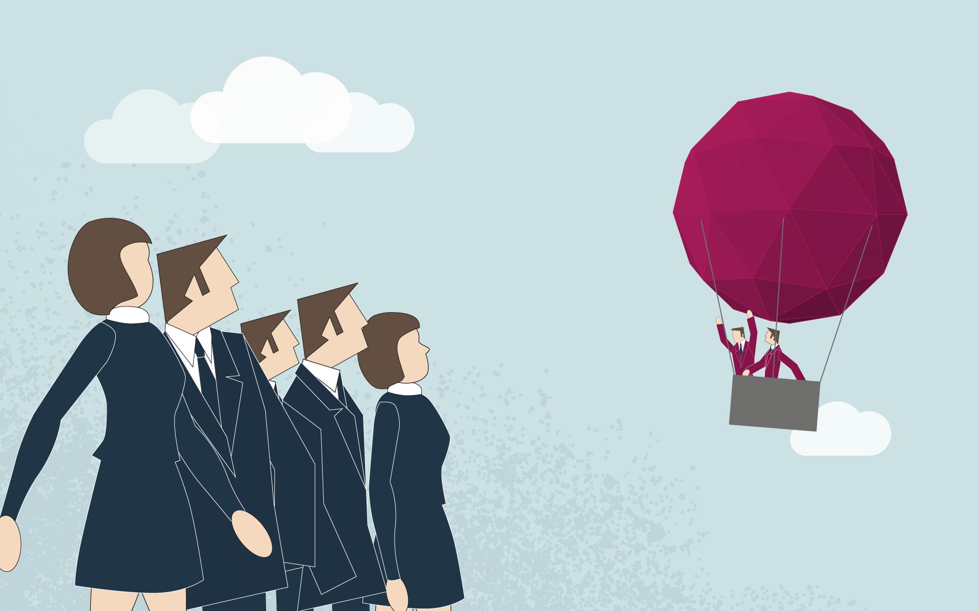 business-transformation - 2 personnes dans une montgolfière quittant un groupe de personnes