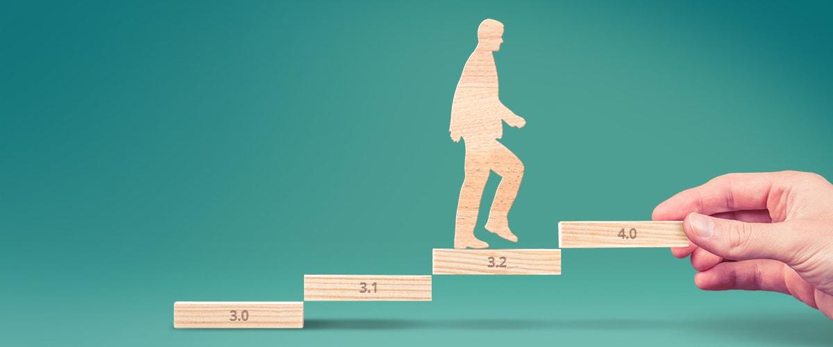 iterative software development - man on a step