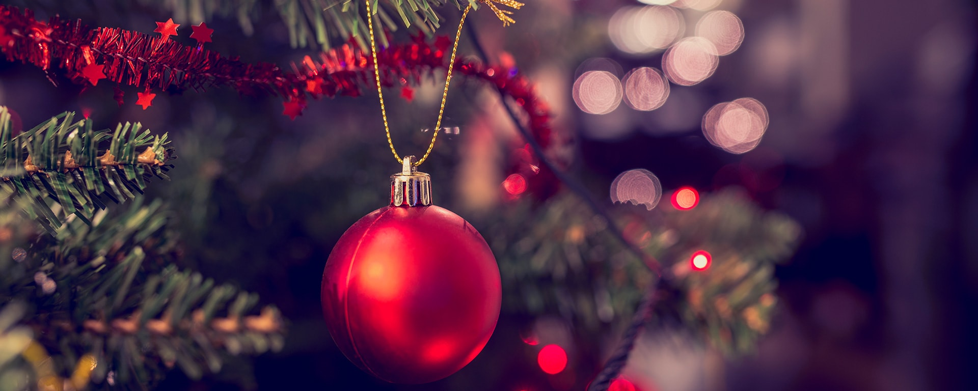Red Christmas Bauble on Tree