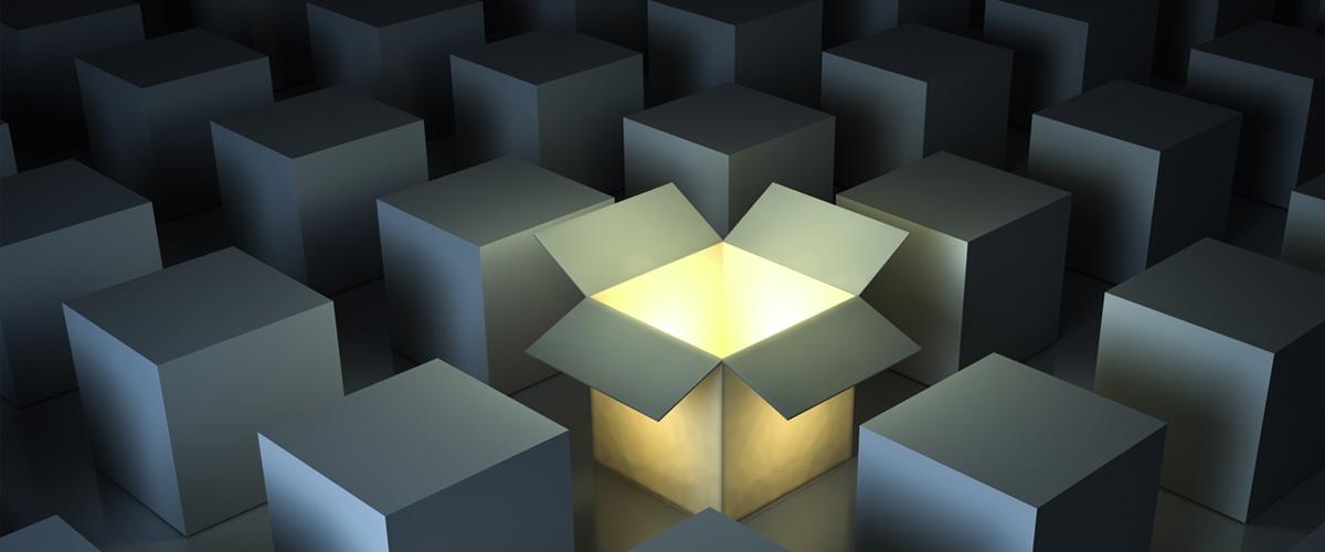 Design Thinking - An open box radiates light