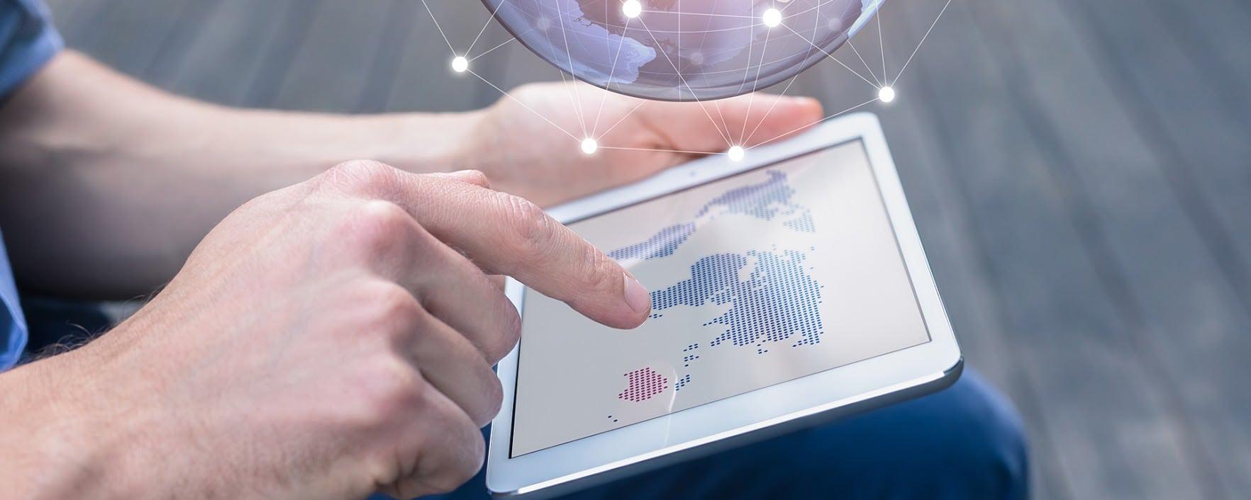 Sécurité des données tablette carte du monde
