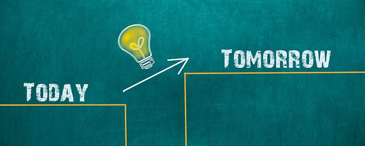 From Best Practice to Next Practice - A light bulb sits above an arrow pointing to tomorrow